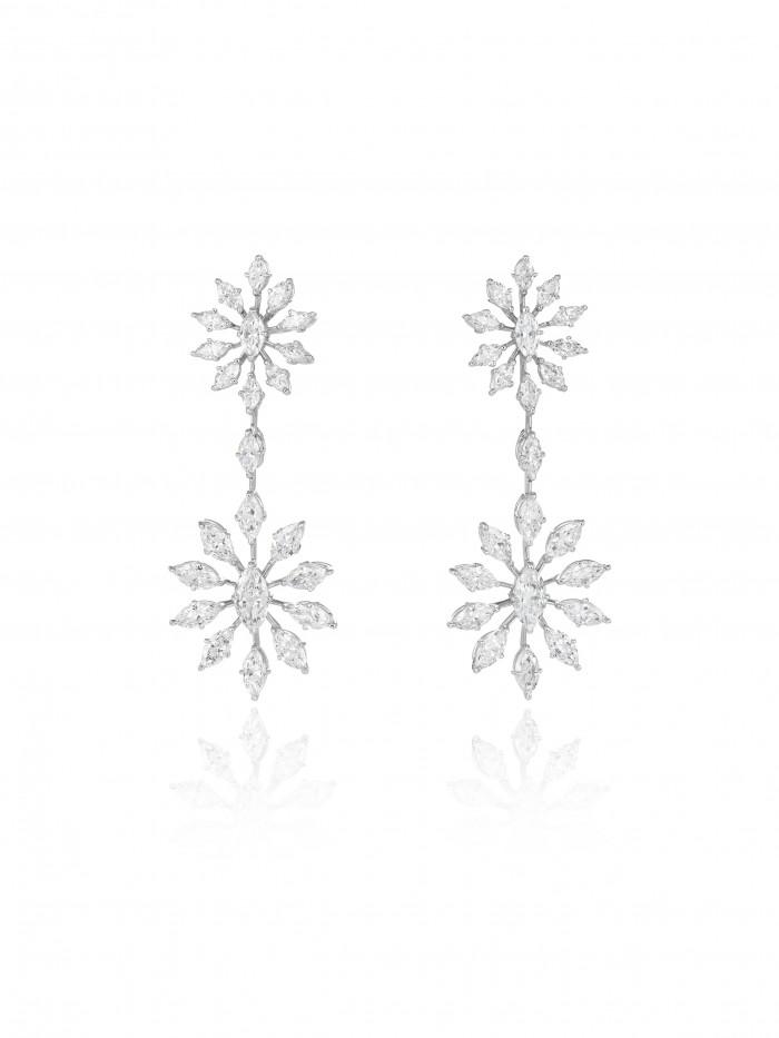 Boucles d'oreilles Green Carpet en or blanc 18ct certifié 'Fairmined'  serti de diamants, CHOPARD
